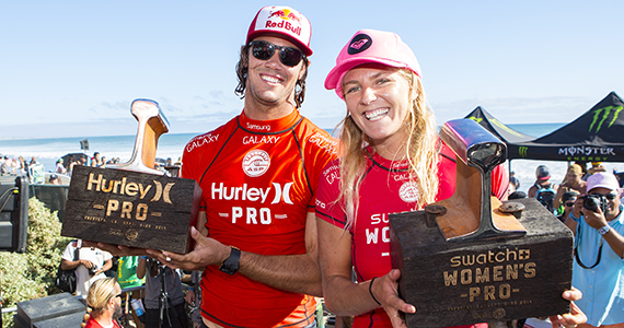 Jordy Smith (ZAF) and Stephanie Gilmore (AUS) reign supreme at Lower Trestles. Image: ASP / Kirstin Scholtz