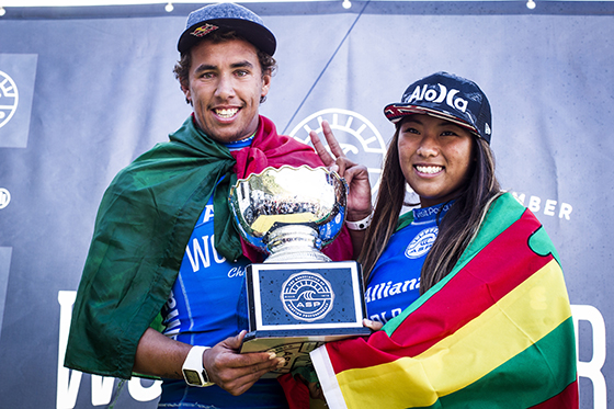 Vasco Ribeiro and Mahina Maeda, 2014 ASP World Junior Champions Image: ASP/Poullenot
