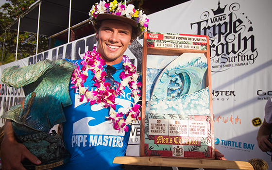 Julian Wilson (AUS) has won the Billabong Pipe Masters and Vans Triple Crown of Surfing. Image: ASP / Laurent Masurel